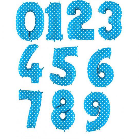 Цифры 0-9 голубые в горох фольгированные с гелием