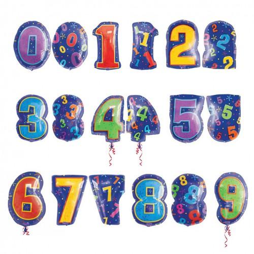 Цифры средние фольгированные шары с гелием