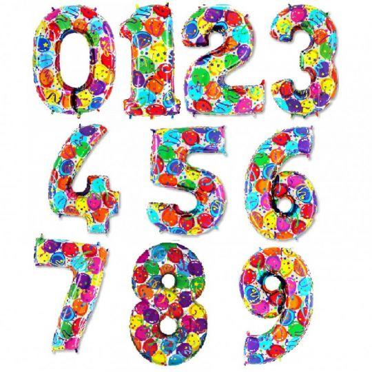 Цифра Шарики и конфетти фольгированный шар с гелием
