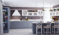 Кухня DELLA LUCE Серо-Белая