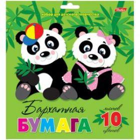 "Бумага цветная бархатная самоклеящаяся А5, 5 листов, 5 цветов ""Две панды"""