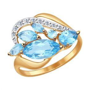 Кольцо из золота с голубыми топазами и фианитами 714499 SOKOLOV