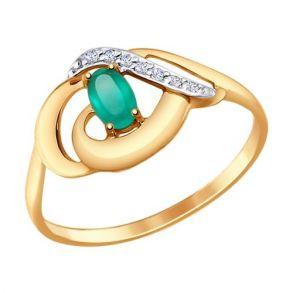 Кольцо из золота с агатом и фианитами 714653 SOKOLOV