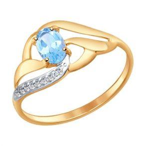 Кольцо из золота с голубым топазом и фианитами 714646 SOKOLOV