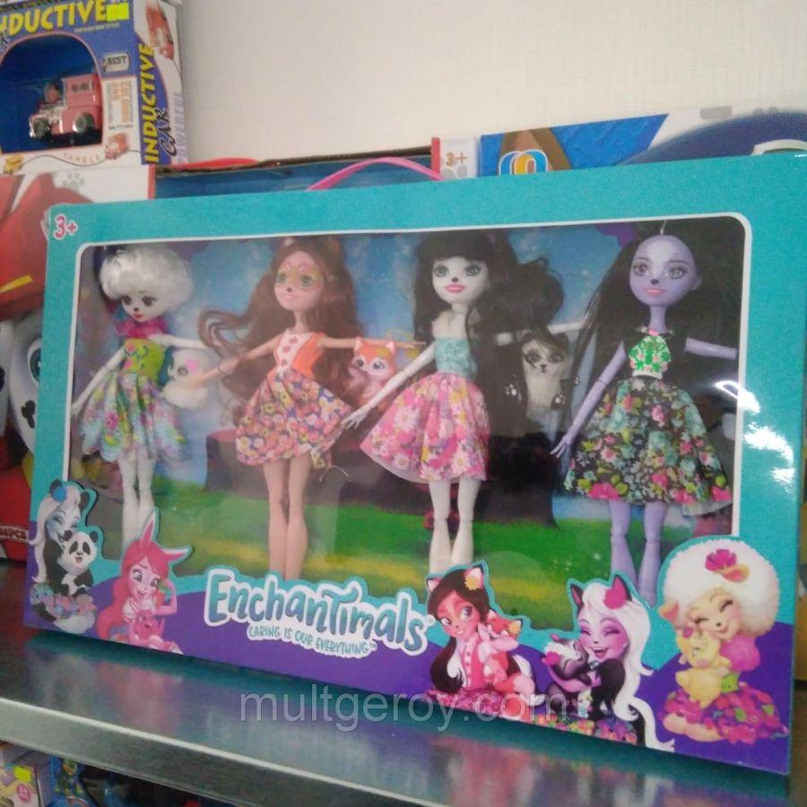 Куклы Enchantimals (Энчантималс), набор из 4 штук с питомцами!