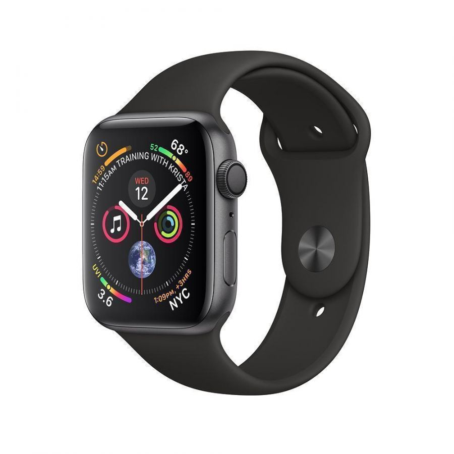 Apple Watch Series 4 44mm (GPS) Space Gray Aluminum Case with Black Sport Band (MU6D2)