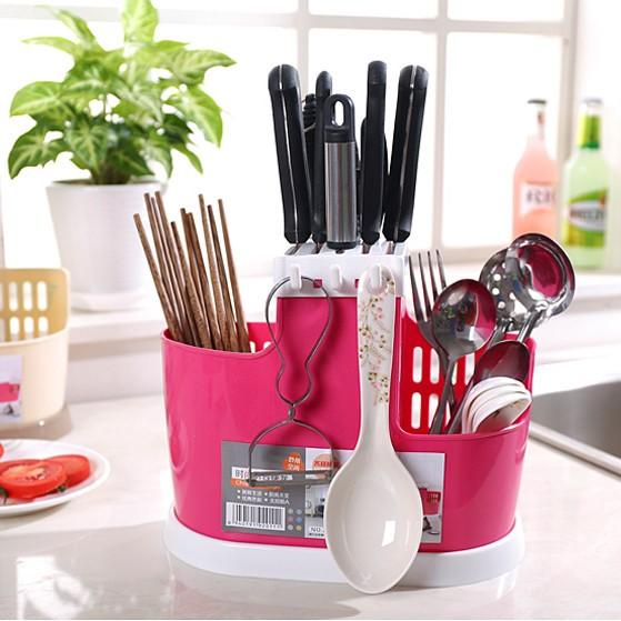 Органайзер для хранения столовых приборов CHOPSTICKS CAGE, цвет розовый