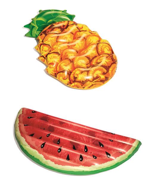 Надувной матрас для плавания Фрукты (арбуз, ананас)