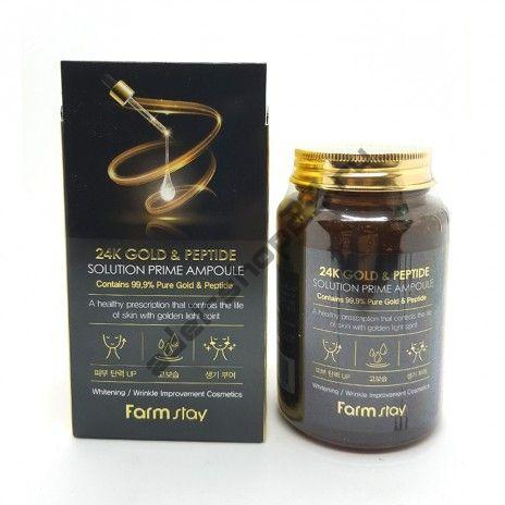 FARM STAY - Антивозрастная ампульная сыворотка 24K Gold & Peptide Solution Prime Ampoule, 250ml