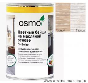 Цветные бейцы на масляной основе для тонирования деревянных полов Osmo Ol-Beize 3501 белый прозрачный 0,125 л