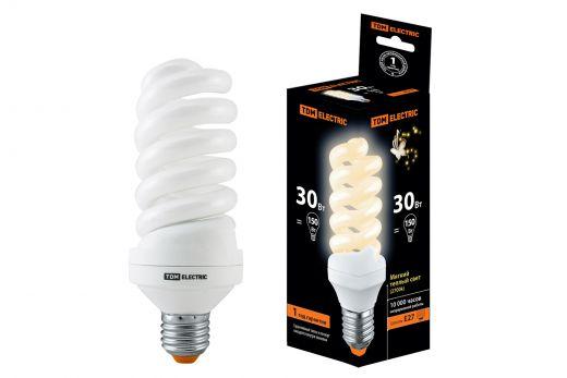 Лампа энергосберегающая КЛЛ-FS-30 Вт-2700 К–Е27 (60х161 мм) TDM
