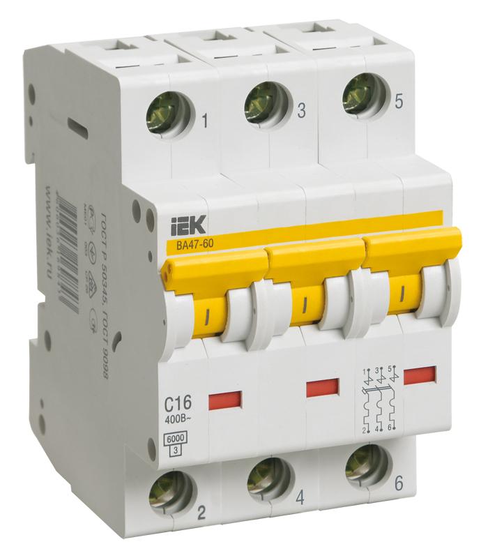 Автоматический выключатель ВА 47-60 3Р 50А 6 кА х-ка D ИЭК