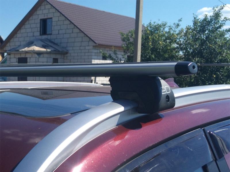 Багажник на интегрированные рейлинги Lifan X70, Евродеталь, аэродинамические дуги