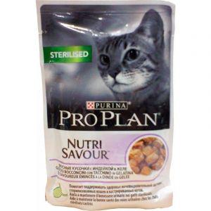Консервы Pro Plan пауч кусочки в желе для взрослых стерилизованных кошек с индейкой 85 гр.