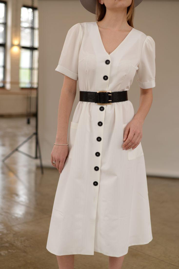 m2079 Платье с объемными рукавами в стиле 60х белое