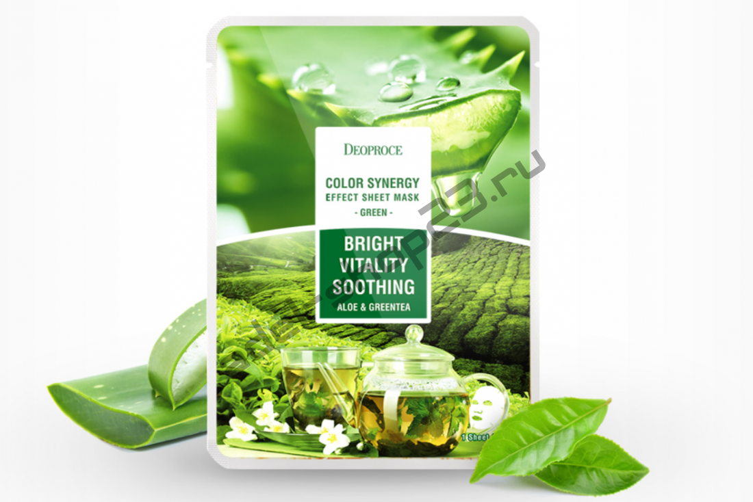 Deoproce – маска с экстрактами алое и зеленого чая Color Synergy Effect Sheet Mask Green