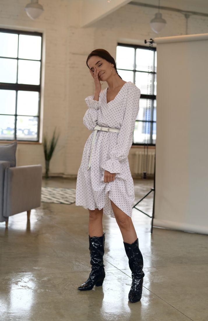 m2084 Платье белое в горошек