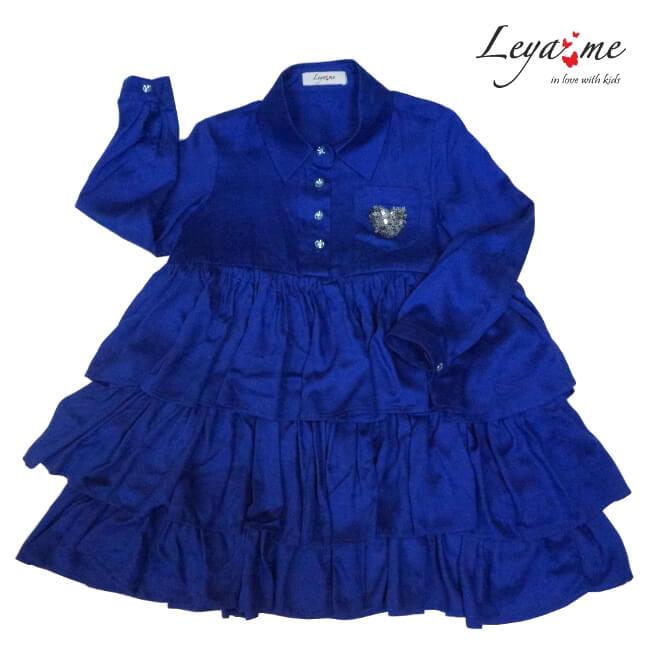 Платье-рубашка ярко-синее с воланами и сердечком