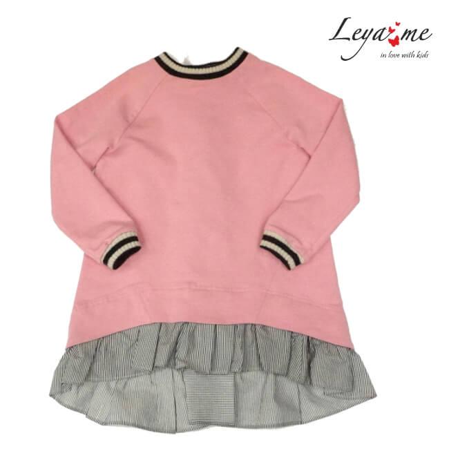 Платье-туника розовое со шнуровкой сзади