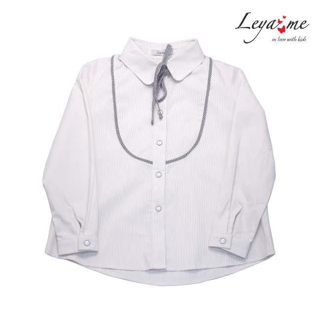 Блузка бежево-белая на девочку с кокеткой и бантом