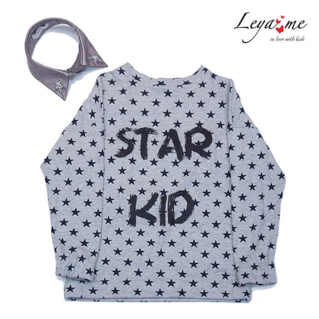Топ принтованный серый Star Kid со съемным воротником