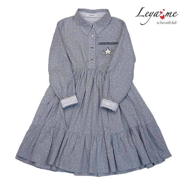 Платье рубашка серое с оборками и нашивкой  на кармане