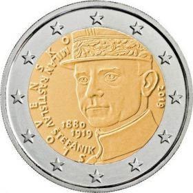 100 лет со дня смерти Милана Растислава Штефаника 2 евро Словакия 2019