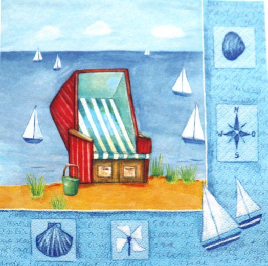 Салфетка бумажная 30*30 Пляж
