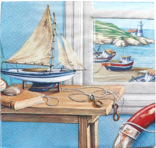 Салфетка бумажная 30*30 Кораблик на столе