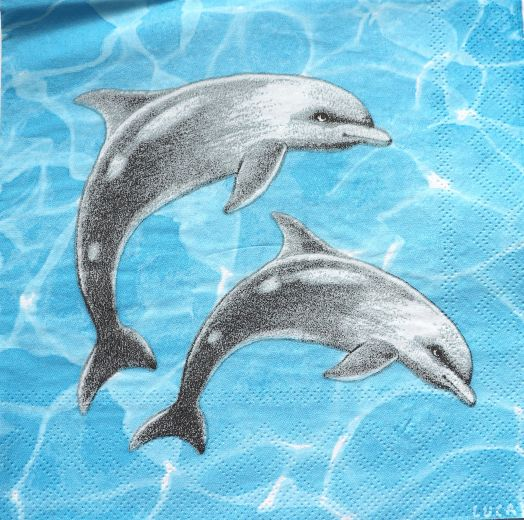 Салфетка бумажная 30*30 Дельфины