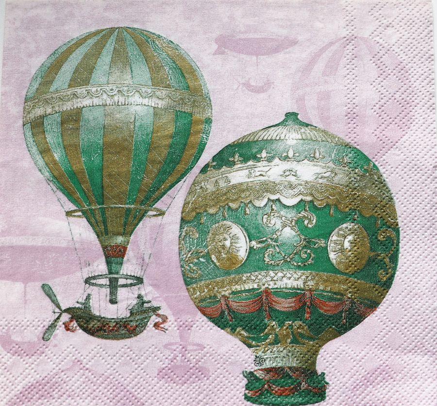 Салфетка бумажная 30*30 Воздушные шары на розовом