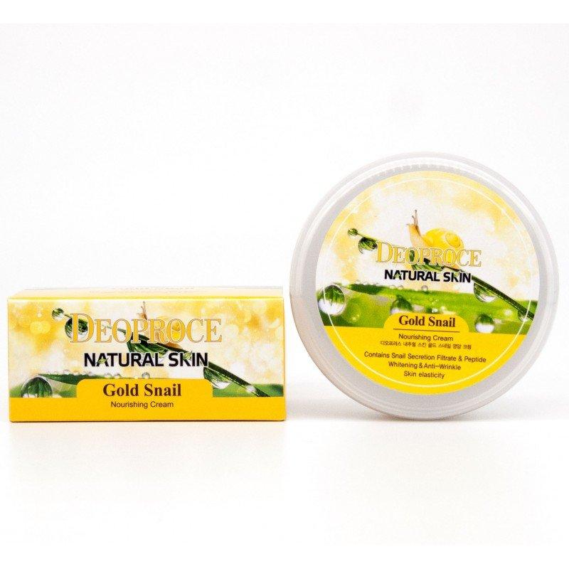 АКЦИЯ! Крем для лица и тела с частичками золота и муцином улитки Deoproce Natural Skin Gold Snail Nourishing Cream, 100 мл
