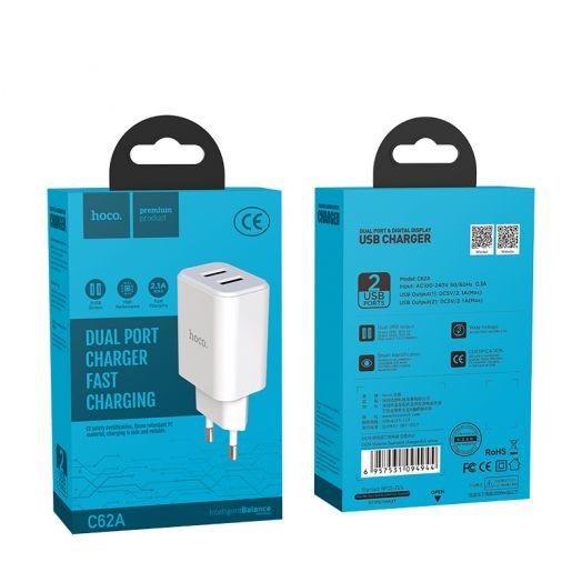 Сетевое зарядное устройство Hoco C62A, 2xUSB, белый