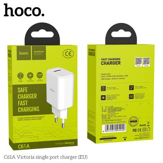 Сетевое зарядное устройство Hoco C61A 1xUSB, белый