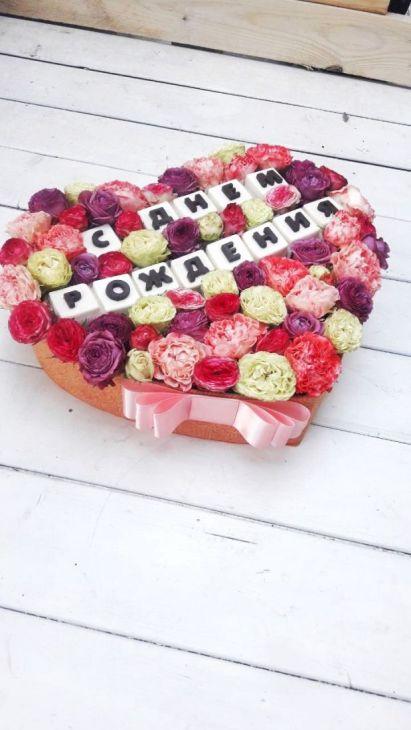 Коробочка из шоколадных букв с днем рождения