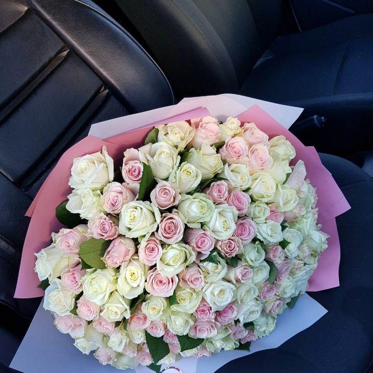 Букет из 101 нежной розы