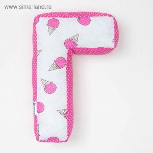 "Мягкая буква подушка ""Г"" 35х21 см, розовый, 100% хлопок, холлофайбер   3293921"