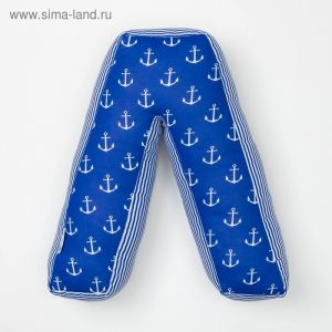 "Мягкая буква подушка ""Л"" 35х35 см, синий, 100% хлопок, холлофайбер   3293868"