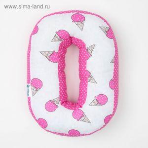 "Мягкая буква подушка ""О"" 35х24 см, розовый, 100% хлопок, холлофайбер   3293894"