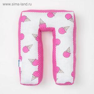 "Мягкая буква подушка ""П"" 35х26 см, розовый, 100% хлопок, холлофайбер   3293909"