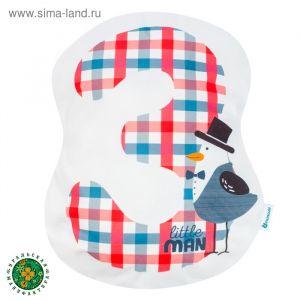 Подушка Крошка Я «3», 40 ? 33 см, цвет синий, велюр, 100 % п/э
