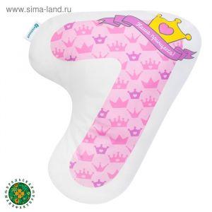 """Подушка """"Крошка Я"""" 7, 45х33 см, розовый, велюр, 100% п/э   4125436"""