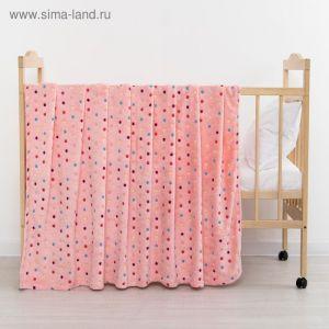 Плед «Горошек» цвет розовый 130х155 см, корал-флис, 230 г/м?, 100% пэ