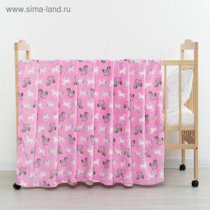 Плед «Единороги» цвет розовый 130х155 см, корал-флис, 230 г/м?, 100% пэ