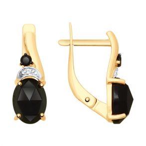 Серьги из золота с чёрными агатами и бесцветными и чёрными фианитами 725524 SOKOLOV