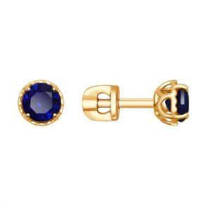 Серьги из золота с синими корундами (синт.) 725416 SOKOLOV