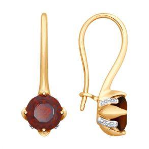 Серьги из золота с гранатами и фианитами 725256 SOKOLOV