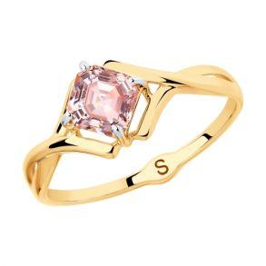 Кольцо из золота с розовым Swarovski Zirconia 81010420 SOKOLOV