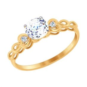 Кольцо из золота со Swarovski Zirconia 81010260 SOKOLOV