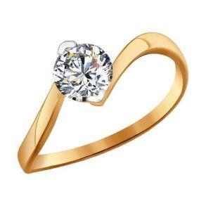 Помолвочное кольцо из золота со Swarovski Zirconia 81010219 SOKOLOV